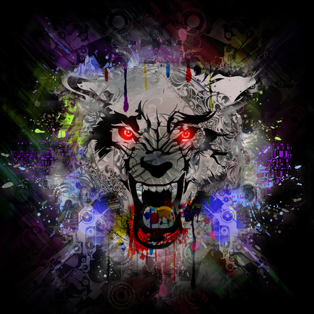 Illustration of Angry wolf head on colorful abstract background