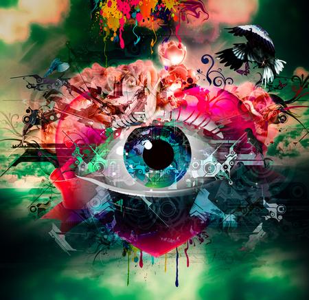 Fondo abstracto para el diseño con ojo humano, visión Foto de archivo - 90932431