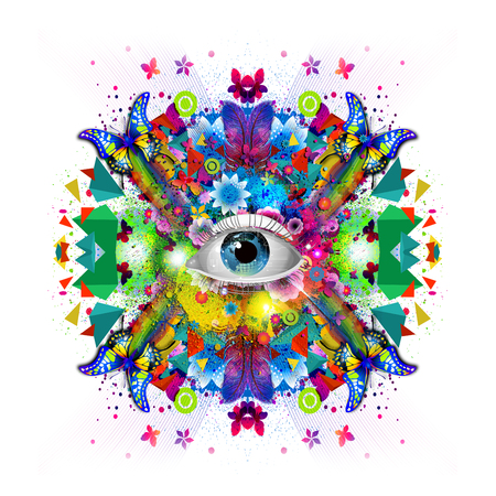 Mystic eye symbol on abstract background Stock Photo