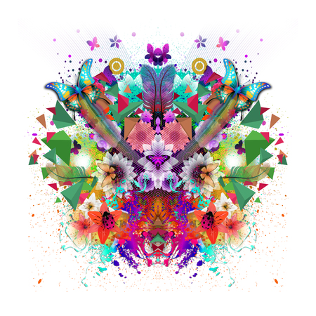 Abstract colorful background with butterflies 版權商用圖片