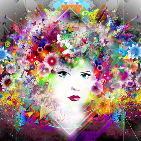 抽象的な花のカラフルな背景と美しい女性モデル