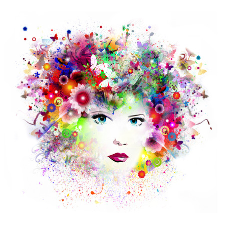 Floral background with woman face Stock Photo