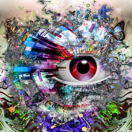 Magische kleurrijke oog abstracte achtergrond Stockfoto - 83533574
