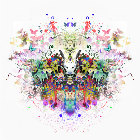 Abstract colorful background with butterflies on white