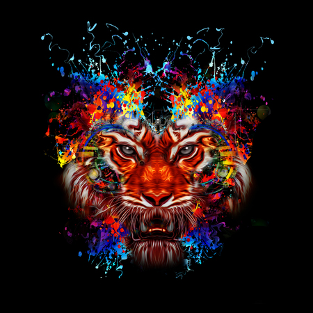 Colorful illustration of tiger head on abstract background