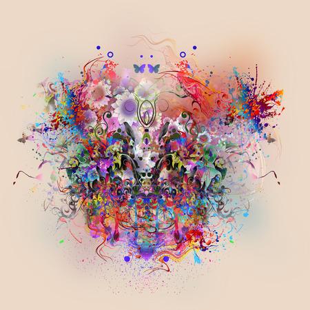 나비와 추상 화려한 배경 스톡 콘텐츠 - 83521369