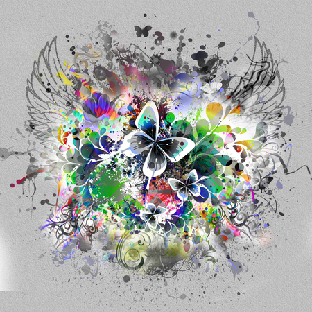 luster: Abstract floral background with butterflies Stock Photo