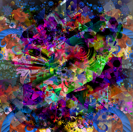 Abstract colorful pattern on black background Stock Photo