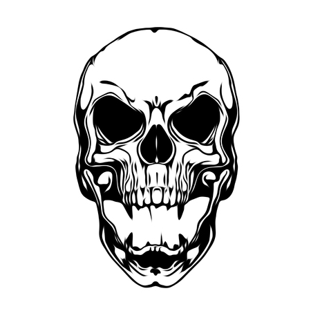 Tattoo style evil skull illustration