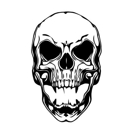 Tattoo style evil skull illustration
