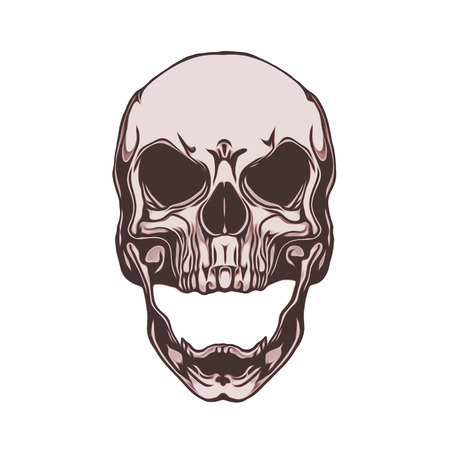 Tattoo style evil skull illustration with goggles and angel wings in the background.
