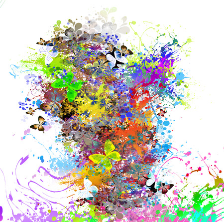 colorfull butterflies in abstract magic splashes background