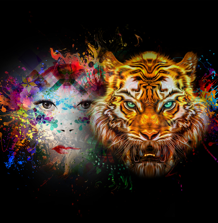 tiger and woman face in bright colors over black background