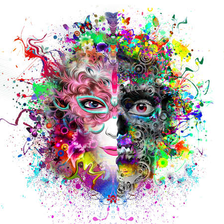 Abstract and mystical face in a skull mask in a colorful background