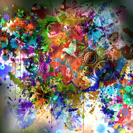 Colorfull butterflies on abstract magic splashes background