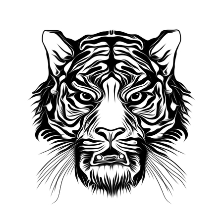 Wild tiger face tattoo