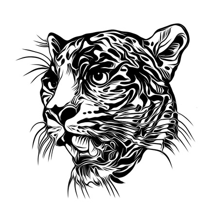 Wild tiger face tattoo illustration