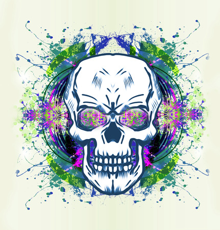 Colored skull isolated on white background