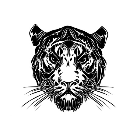 Tiger head tattoo illustration on white background Фото со стока