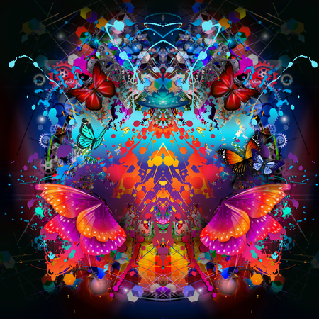 futuristic colorful background with beautiful butterflies