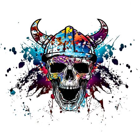 Abstract and colorful image of viking skull
