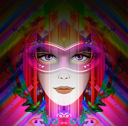 futuristic colorful background with beautiful female face and butterflies - Illustration