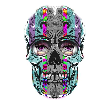Abstract and colorful image of skull - Illustration