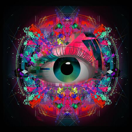 Human eye colored colored mysterious background
