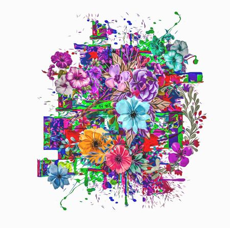abstract illustration with colorful paint splashes and flowers