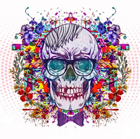 hipster skull with hairstyle and eyeglasses, flowers on background