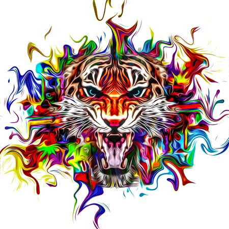 abstract illustration with angry tiger face Banco de Imagens