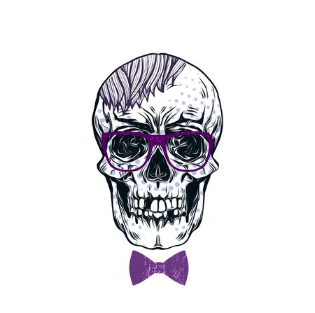 hipster skull with hairstyle and eyeglasses