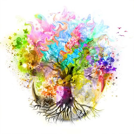 futuristic colorful background with tree and beautiful butterflies with paint spots Stockfoto
