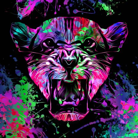 tiger head colorful illustration on white background