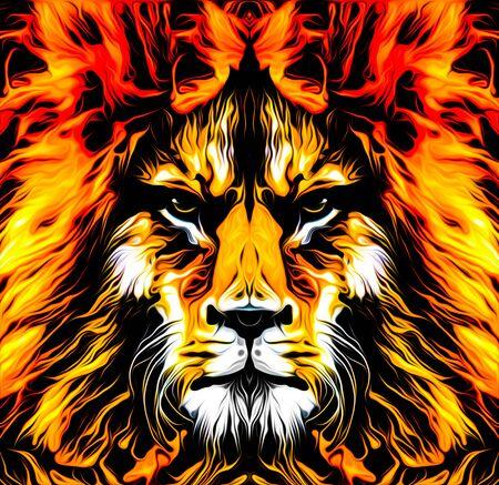 Lion head colorful illustration on white background Stock Photo