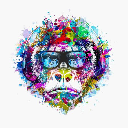 Colorful artistic monkey in eyeglasses with colorful paint splatters on white