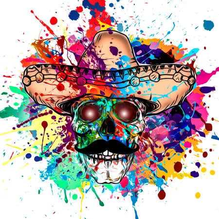 abstract music background with skull