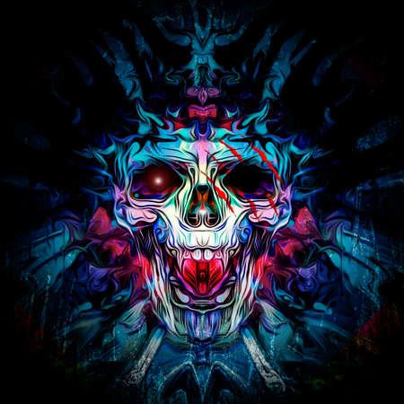 colorful skull on black background, modern graphic illustration