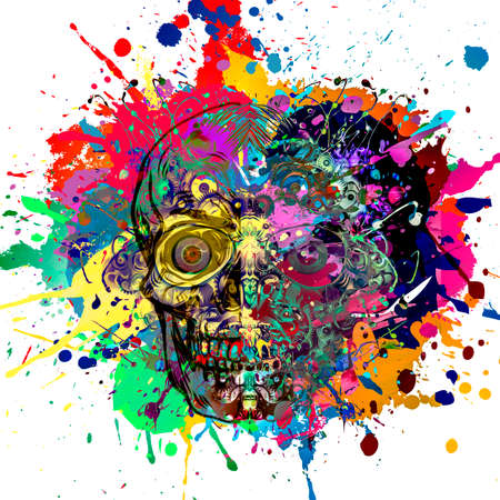 colorful skull on white background, modern graphic illustration Фото со стока