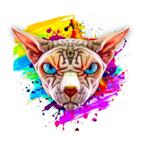 Abstract colored sphinx face on white