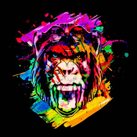 Colorful artistic monkey  with colorful paint splatters on black background Archivio Fotografico