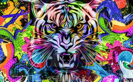 grunge background with graffiti and painted lion Imagens