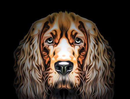 colorful artistic dog muzzle isolated on white background Фото со стока