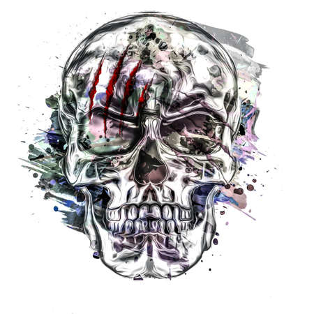 skull graffiti on the wall on background Фото со стока