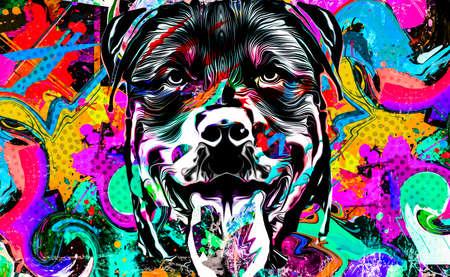artistic bulldog on white background