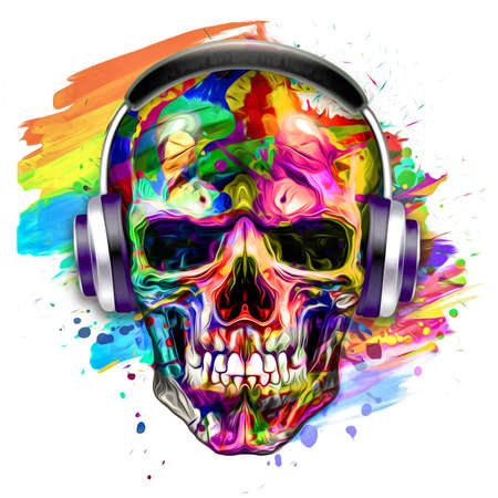 skull with wings and headphones Фото со стока