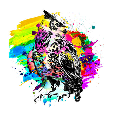 abstract background with colorful bird owl