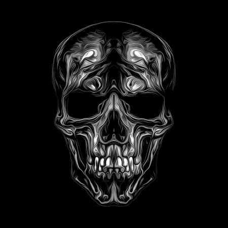 skull on black background, modern graphic illustration