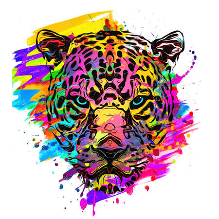 abstract artistic leopard muzzle isolated on colorful background