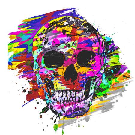 colorful skull on white background, modern graphic illustration Archivio Fotografico